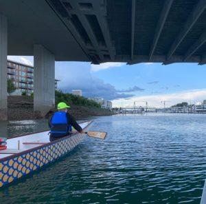 paddling a boat